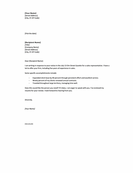 cover letter in response to ad short