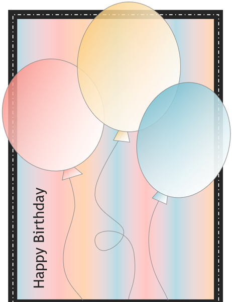 Happy Birthday Card With Balloons And Stripes Quarterfold - Birthday invitation template quarter fold
