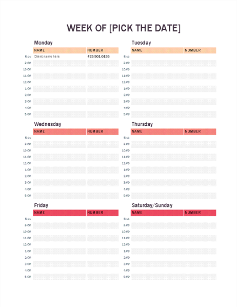 Schedules Office – Day Planner Template Word