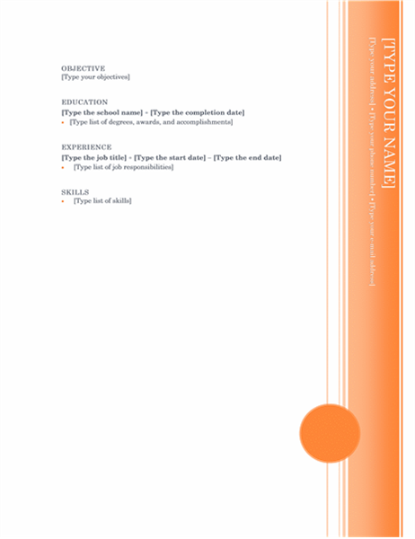 microsoft templates for resume