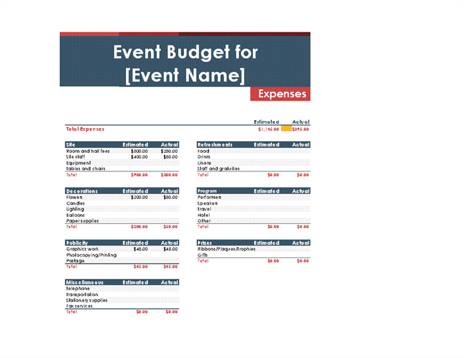 Event budget Office Templates – Downloadable Budget Worksheet