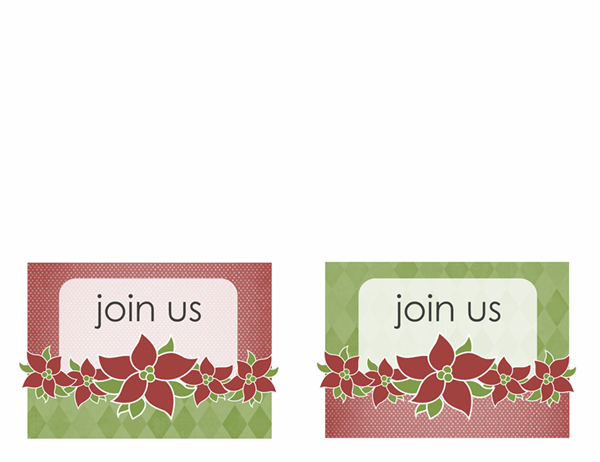 Holiday party invitation (Poinsettia design, A2 size, 2 per page)