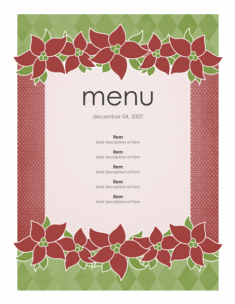 Holiday menu (Poinsettia design)