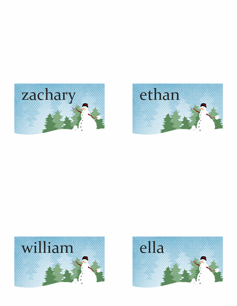 Holiday place cards (Holiday Snowman design, fold-over style, 4 per page)