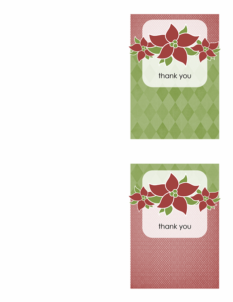 Holiday thank you card (Poinsettia design, quarter-fold)