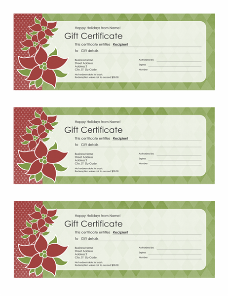 Holiday gift certificate (Poinsettia design, 3 per page) - Office ...