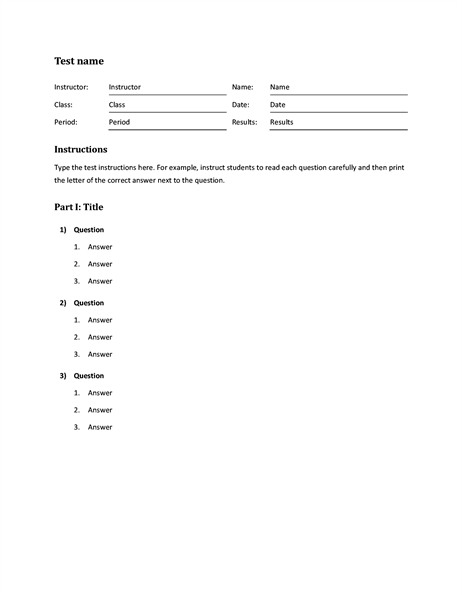 Blank and general for Multiple choice questionnaire template