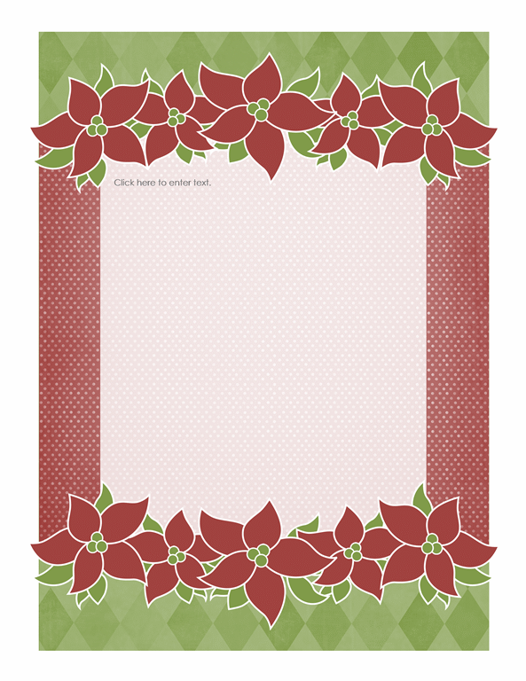 Holiday stationery (Poinsettia design) - Office Templates