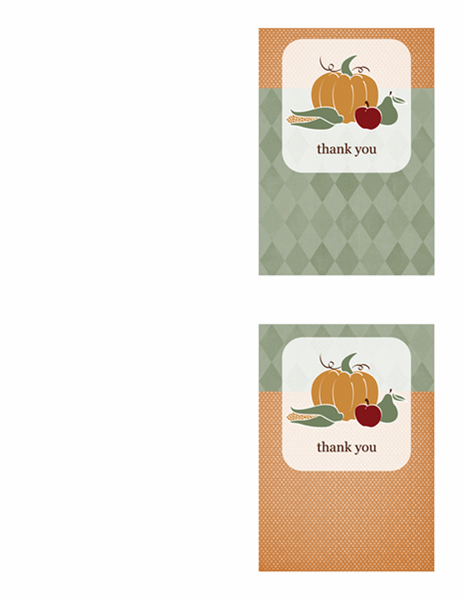 Thank you cards (Harvest design, 2 per page)