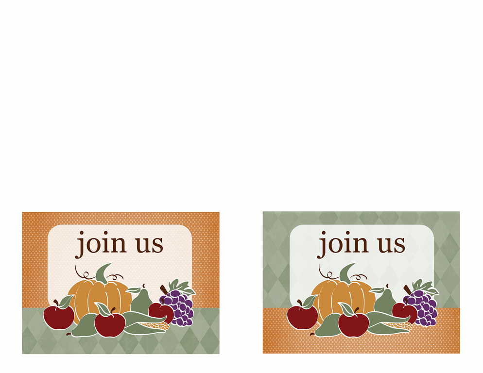 Party invitation (harvest design, 2 per page, A2 size)