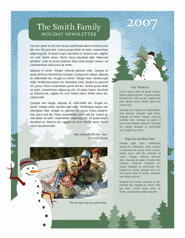 Holiday family newsletter (Snowman design, 2-pp.)