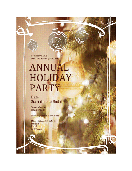 Holiday Party Invitation For Business Event Office Templates - Party invitation template: company holiday party invitation template