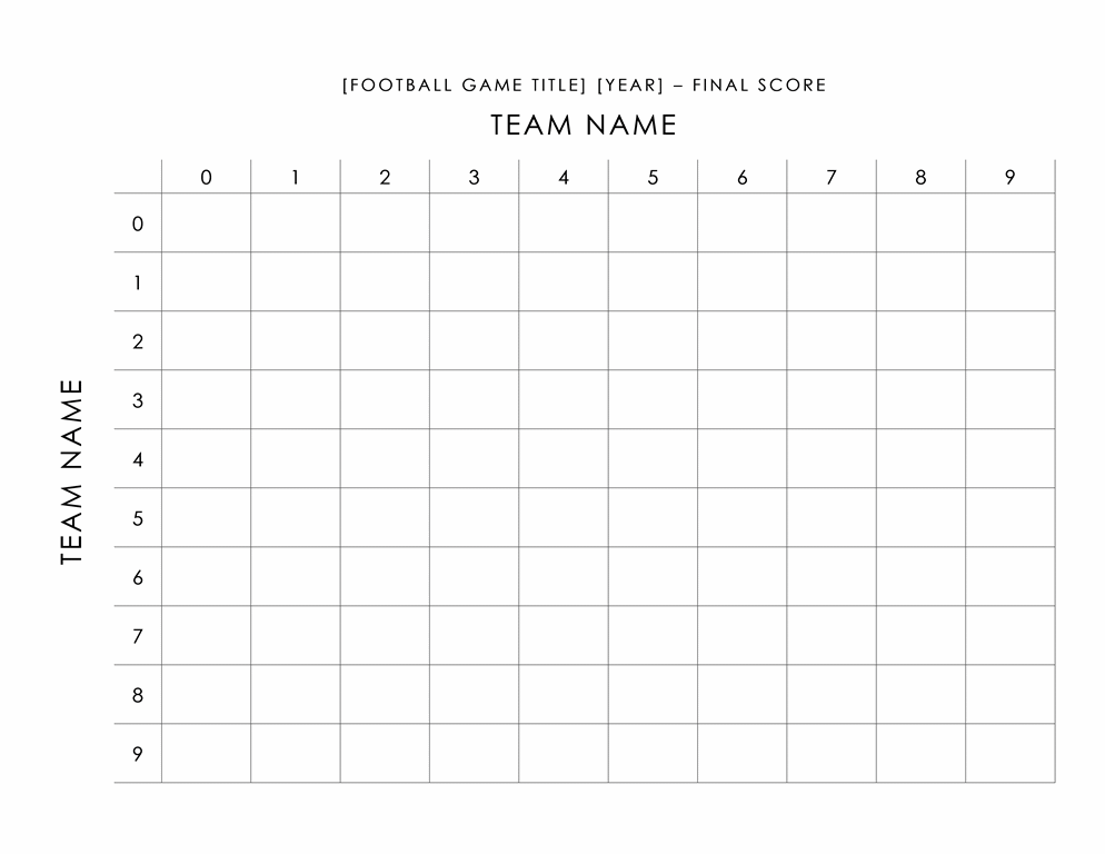 Football pool scorecard - Office Templates