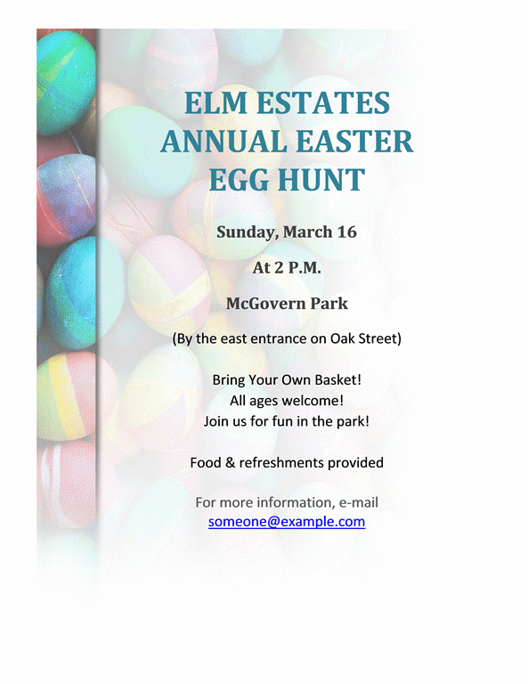 Easter Egg Hunt Flyer  Microsoft Word Template Flyer