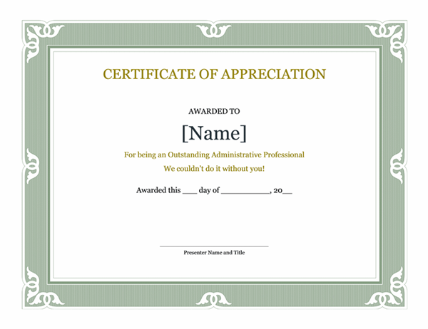 Certificates office certificate of recognition for administrative professional yadclub Choice Image