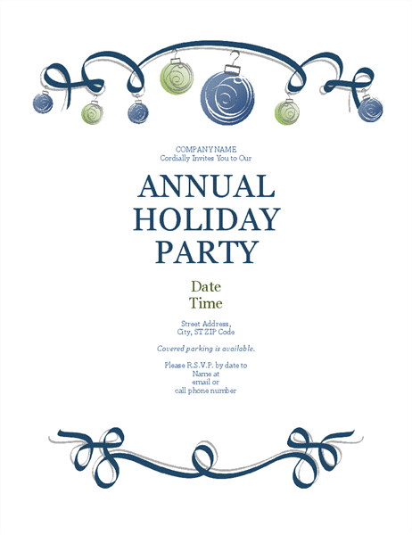 Holiday party flyer with ornaments and blue ribbon (Formal design)