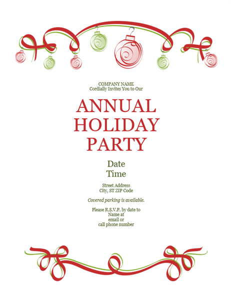 holiday party invitation with ornaments and red ribbon (formal, Party invitations