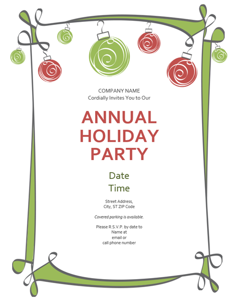holiday party invitation with ornaments and swirling border, Party invitations