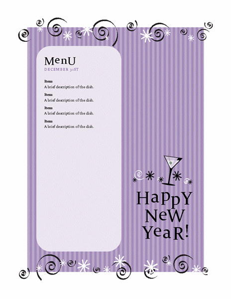 New Year's party menu (purple)