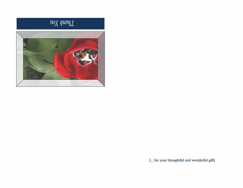 Thank you card (floral design, quarter-fold)