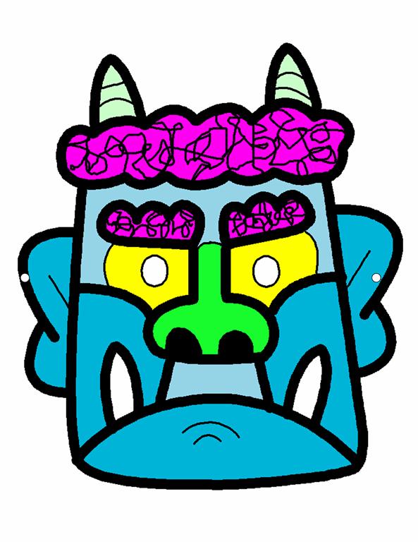 Japanese Setsubun mask (blue)