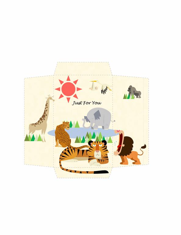 Money envelope (safari animals design)