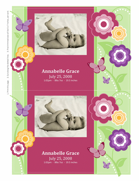 Photo birth announcement cards (flowers design)