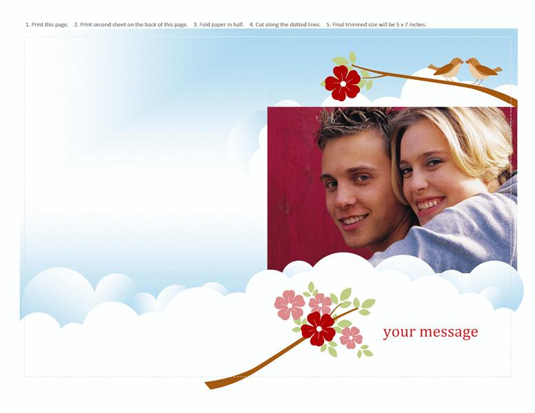 Photo greeting card (flowers & birds design, half-fold)