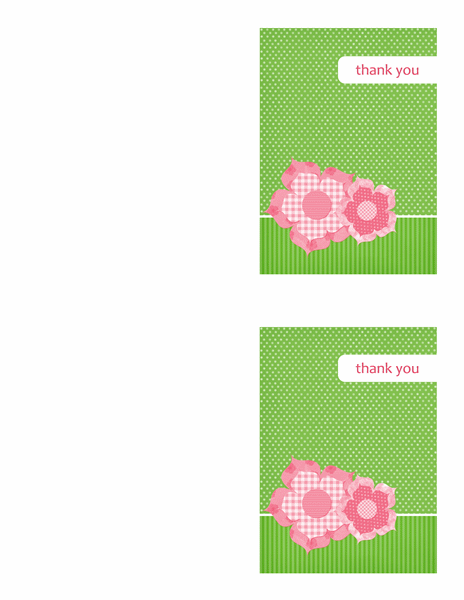 Thank you cards (Floral design, 2 per page)