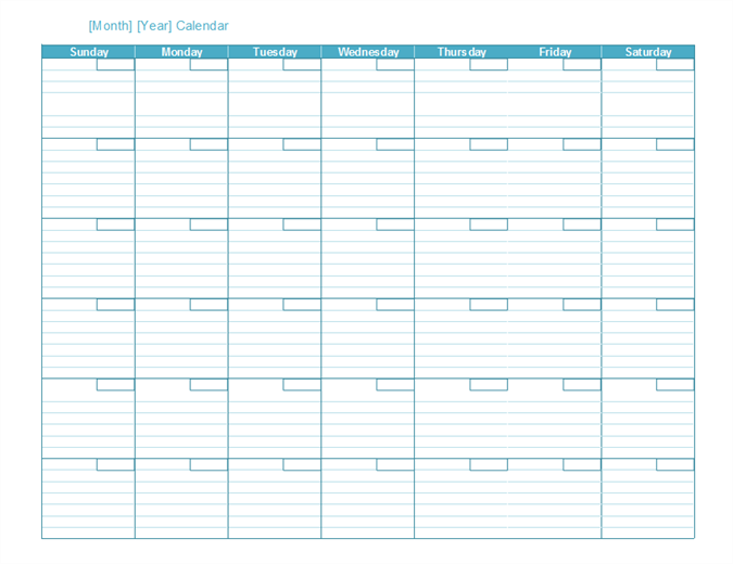 Weekly Year Calendar Template : Blank monthly calendar