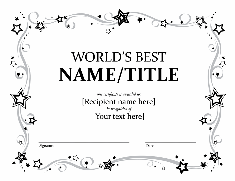 Worldu0027s Best Award Certificate (black And White)  Ms Office Certificate Template