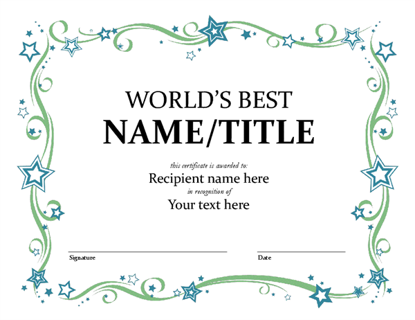 Marvelous Worldu0027s Best Award Certificate On Certificate Of Achievement Template Word