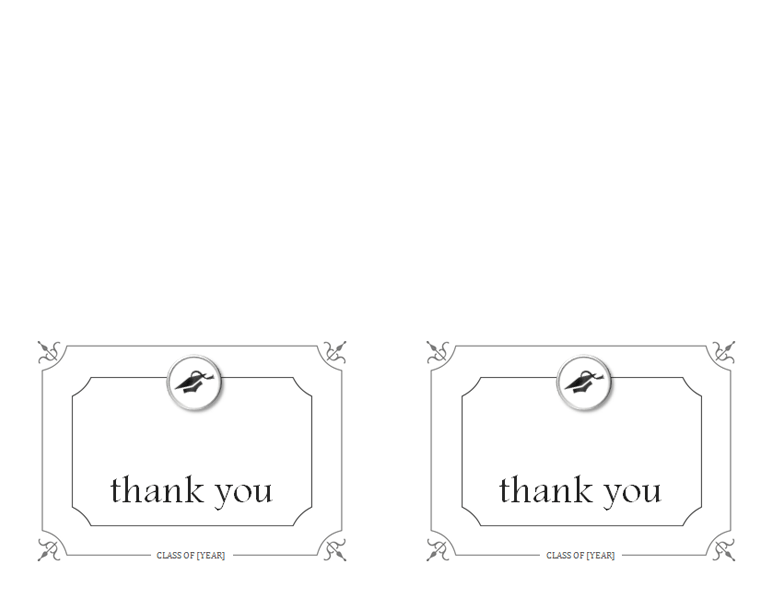 Graduation thank you cards (Formal design, 2 per page)