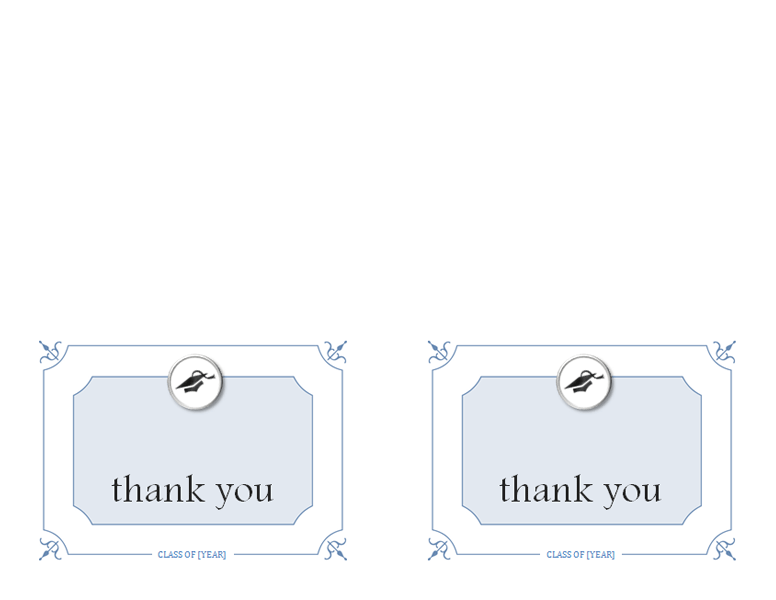Graduation thank you cards (Formal design - color, 2 per page)