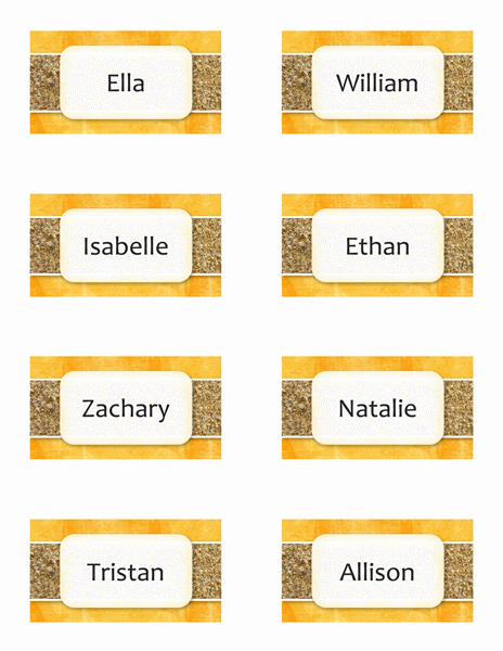Place cards (Sun and Sand design, 8 per page)