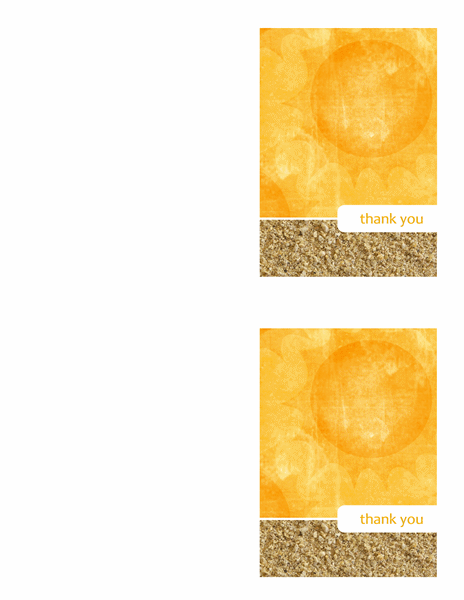 Thank you cards (Sun and Sand design, 2 per page)