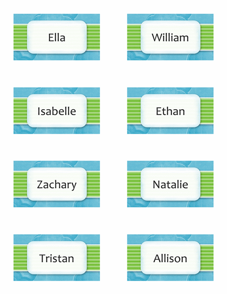 Name or place cards (clouds design, 8/pg)