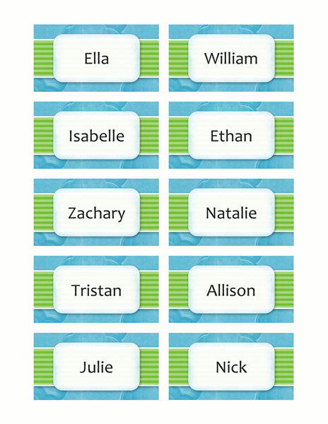 Name or place cards (clouds design, 10/pg)