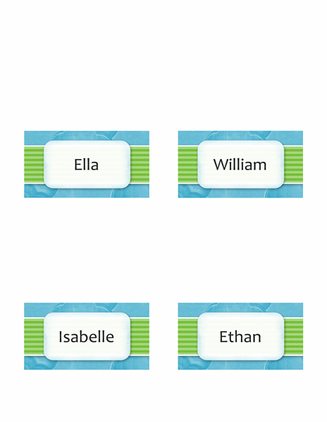 Place cards (Clouds design, fold-over style, 4 per page)