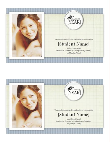 Graduation announcements with photo (Textures design, 2 per page)