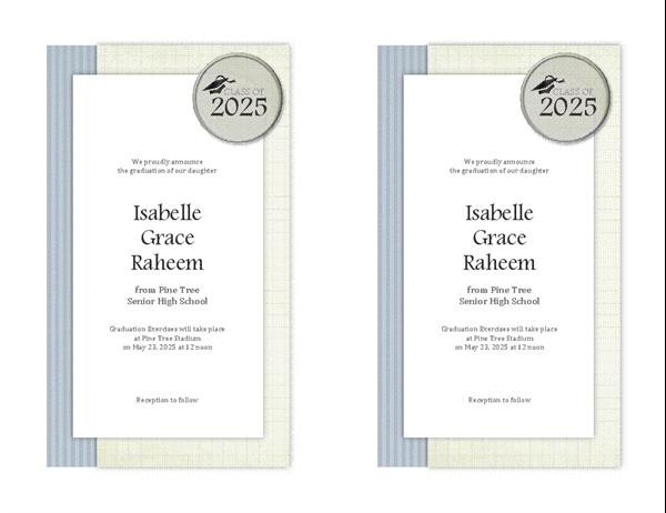 Graduation announcements (Textures design, 2 per page)