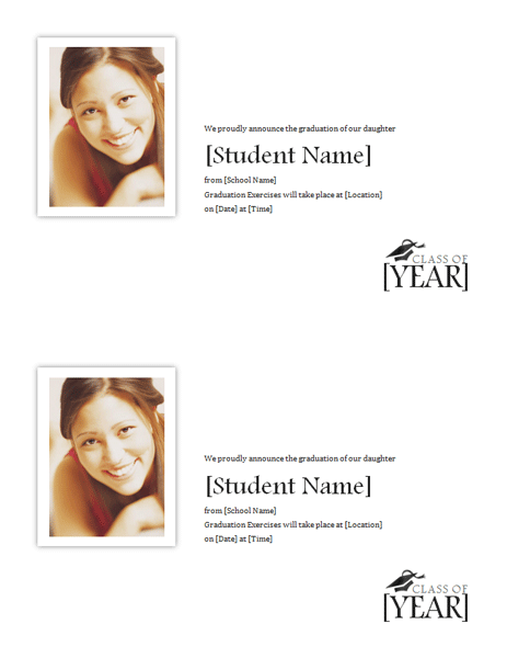 Graduation announcements with photo (2 per page)