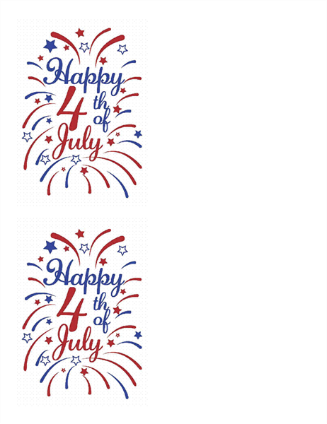 4th of July greeting cards (2 per page)