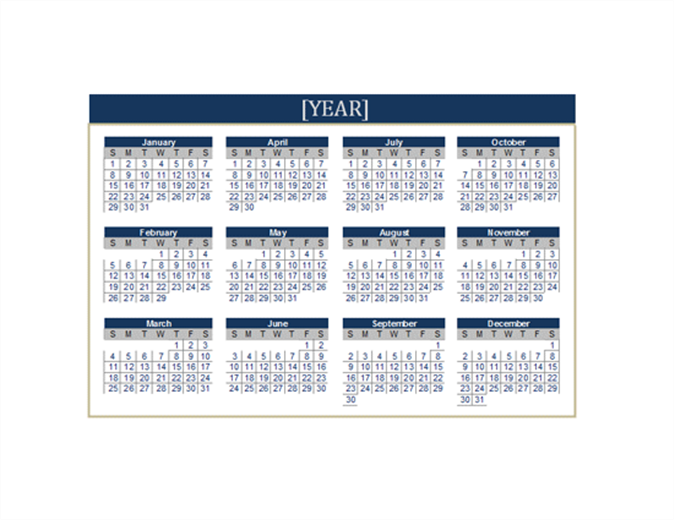Calendar any year Office Templates