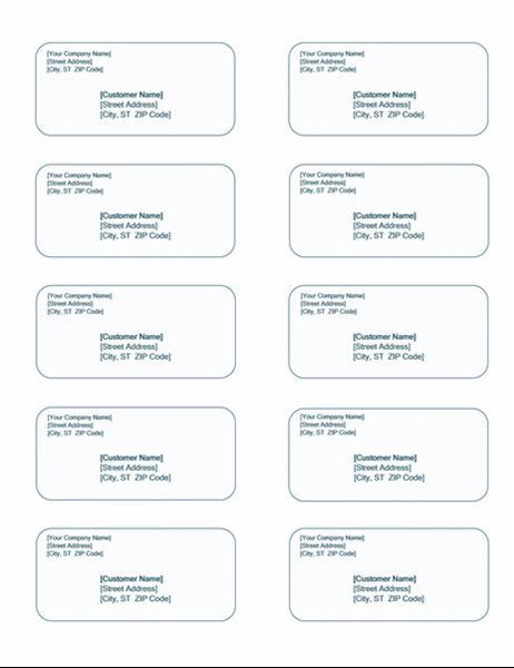 10 per page label template