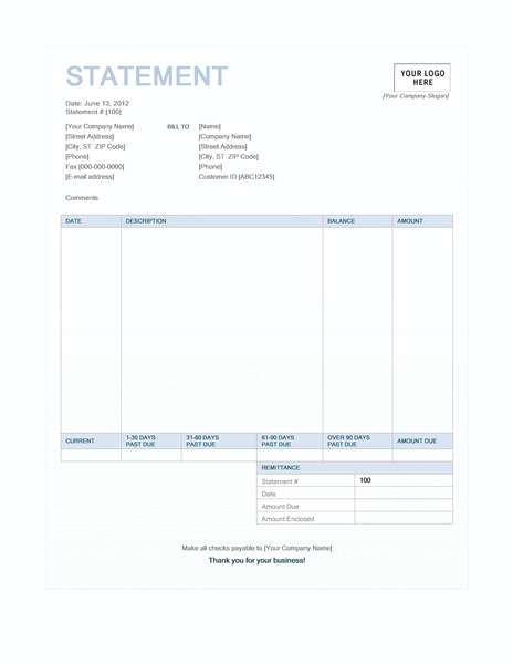 Billing statement (Blue Background design)
