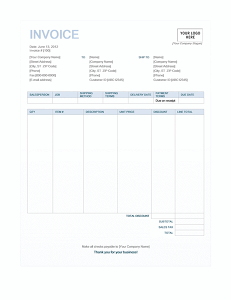 Sales invoice (Blue Background design)