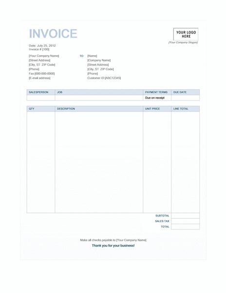 Service invoice (Blue Background design)