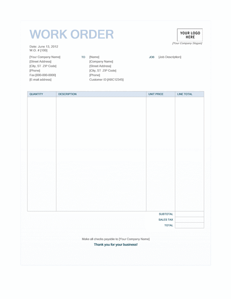 Work order (Blue Background design)