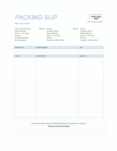 Packing Slip (Blue Background Design)  Invoice Sample In Word